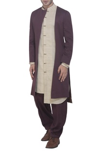 Brown achkan jacket & beige kurta