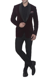 Burgundy brown tuxedo jacket
