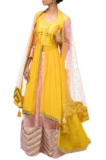 Yellow & pink dupion silk anarkali with lehenga & dupatta