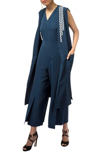 Navy blue butter crepe silk jumpsuit with sleeveless jacket