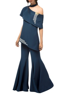 Navy blue butter crepe silk bell bottom jumpsuit
