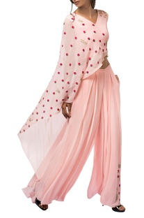 Sorbet pink georgette resham & colored sequin pant set