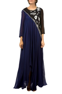 Navy blue & black asymmetric flared gown