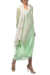 Green & ivory sequin & resham embroidered draped tunic with churidar