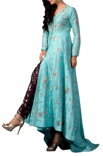 Blue raw silk embroidered jacket & pants