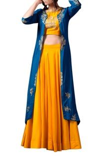 Yellow bead embellished lehenga & jacket