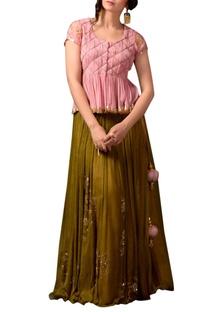 Pink peplum top & green sequin skirt