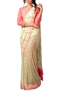Green & peach french knot sari & blouse