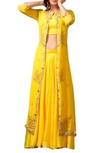 Yellow skirt & embellished jacket