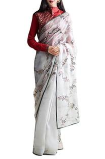 Maroon & grey embroidered sari & blouse