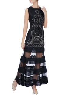 Black bead embellished gown