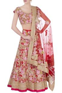 Red & pink floral bridal lehenga set
