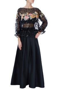 Black floral blouse & lehenga