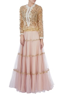 Gold sequin blouse & tiered lehenga
