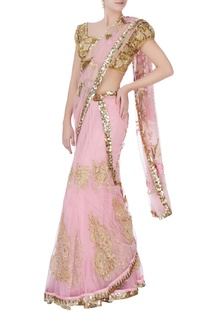 Pink sequin sari with blouse & petticoat
