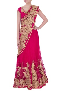 Pink embroidered sari with blouse & petticoat