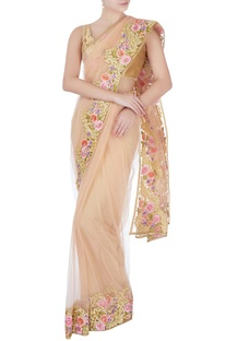 Beige floral sari with blouse-piece