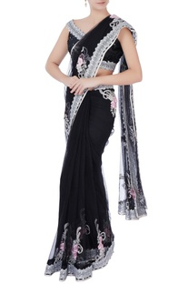 Black sequin sari with blouse & petticoat