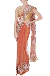 Peach floral embroidered sari