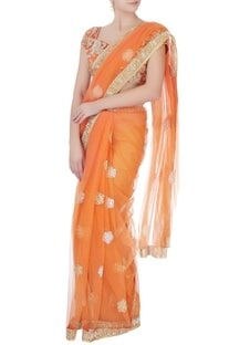 Orange sequin sari with blouse & petticoat