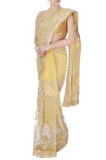 Yellow sequin sari with petticoat