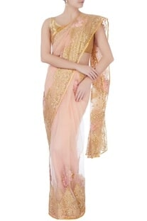 Beige floral lace work sari