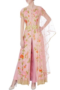 Pink front open jacket set