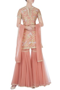 Peach kurta with sharara pants & dupatta
