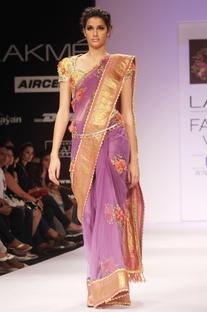 Purple floral embroidered sari & blouse