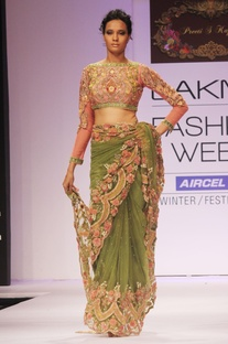 Green embroidered sari & blouse