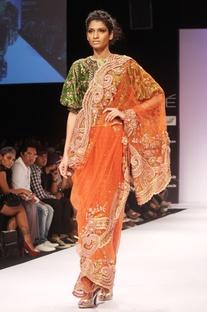 Orange embroidered sari & blouse