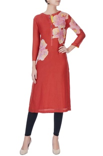 Red patch work kurta