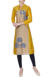 Mustard yellow lotus motif kurta