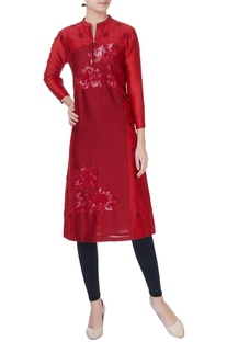 Red patch work chanderi kurta
