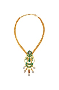 Green & white kundan necklace