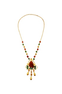 Yellow & green kundan necklace
