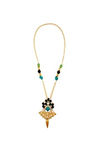 Multicolored gold plated kundan necklace