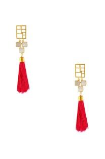 Gold plated pink tassel earrings