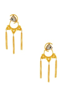 Gold tassel long earrings