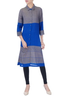 Blue & grey shirt collar kurta