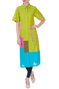 Green color block kurta