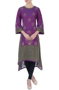 Purple asymmetric style kurta