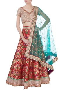 Red & beige banarasi silk lehenga set