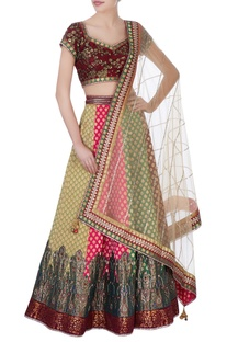Multicolored banarasi silk lehenga set