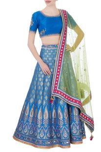 Blue banarasi silk lehenga set