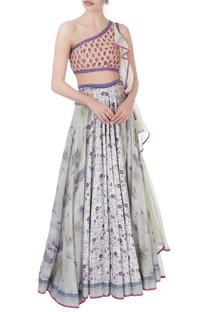 Pink & purple cutwork lehenga set