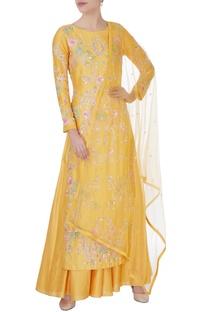 Yellow sequin kurta with lehenga & dupatta