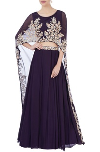 Purple high waist lehenga & cape