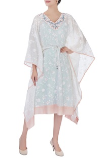 White printed kaftan with embroidered neckline