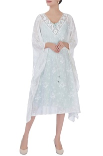 White printed cutwork kaftan